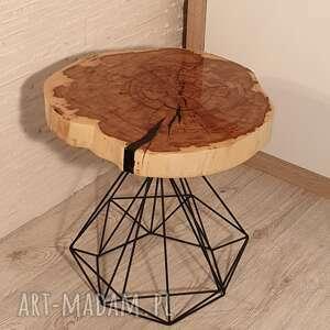 Stolik drewniany z żywicy epoksydowej - plaster klonu