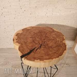 Stolik drewniany z żywicy epoksydowej - plaster klonu zywica