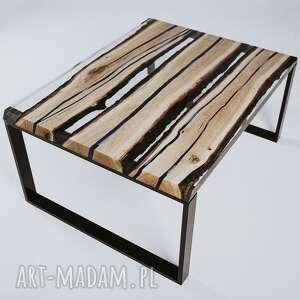 czarne stoły stolik kawowy z dębowych desek