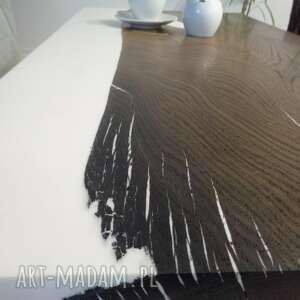 stolik z-żywicą stoły brązowe kawowy z czarnego dębu