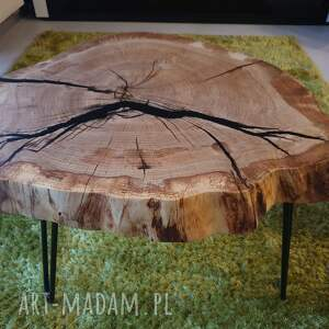 modne stoły loft stolik kawowy dębowy plaster drewna