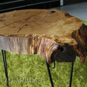 Stolik kawowy, plaster drewna dąb - loft