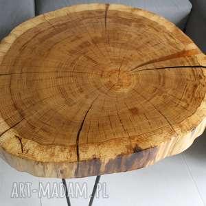 czarne loft stolik kawowy plaster drewna