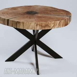 brązowe stoły stolik dębowy kawowy z plastra