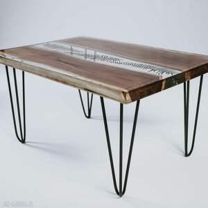 stolik kawowy stoły zielone orzechowy z motywem