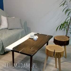 oryginalne stoły stolik z-żywicą kawowy z czarnego dębu