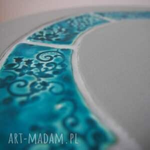 ręcznie wykonane stoły ceramika stolik/kwietnik szary z turkusową