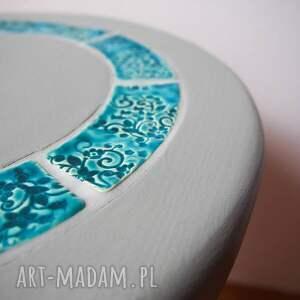 stoły ceramika stolik/kwietnik szary z turkusową