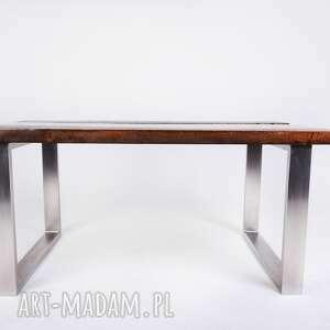 hand made stoły industrialny stolik wimbi dąb szkło i stal