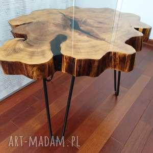 Sciete i pociete Stolik z plastra drewna z żywicy zywica