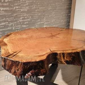 czarne stoły żywica stolik z plastra drewna