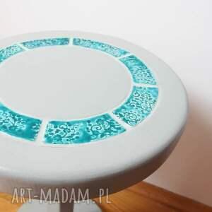 ceramika stoły stolik/kwietnik szary z turkusową