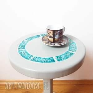 turkusowe stoły stolik/kwietnik szary z turkusową
