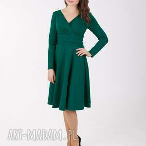 LaLu sukienki upominek świątecznyADEL sukienka z kopertowym dekoltem, butelkowa zieleń na swieta