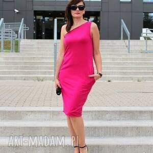 atrakcyjne sukienki sukienka asymetryczna bawełniana