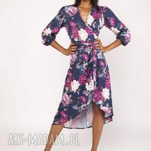 LANTI urban fashion sukienki: Asymetryczna, kopertowa sukienka, suk161 kwiaty