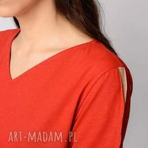 czerwone sukienki red bawełniana sukienka z dłuższymi