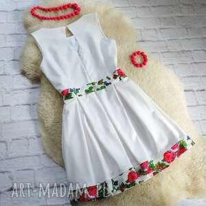 góralska sukienki biała sukienka z kontrafałdami