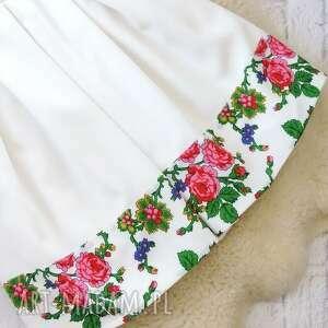 sukienki sukienka biała kontrafałdy góralska