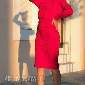 sukienki bawełna bien fashion czerwona sukienka