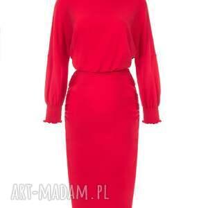 czerwone sukienki bawełna bien fashion czerwona sukienka