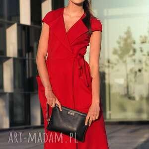 sukienki kieszenie bien fashion czerwona sukienka
