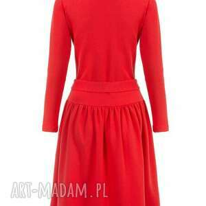 trendy sukienki rozkloszowana bien fashion czerwona sukienka
