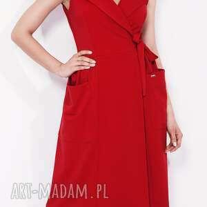 kieszenie sukienki bien fashion czerwona sukienka