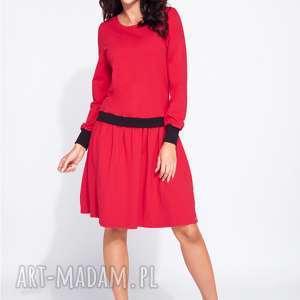 midi sukienki czerwone bluzosukienka z długim rękawem do