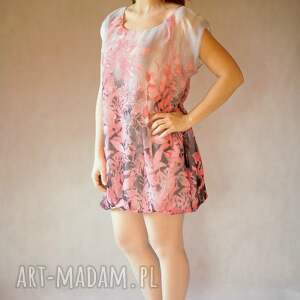 sukienki elegancka bombka szaro różowa