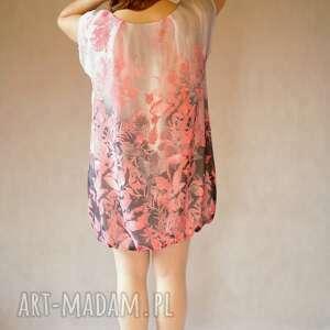 elegancka sukienki bombka szaro różowa