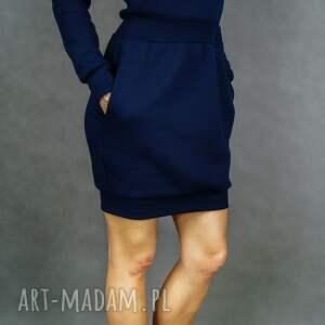 unikatowe sukienki długi-rękaw bombress navy blue