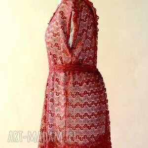 hand made sukienki wieczorowa bordowa koronka z paskiem