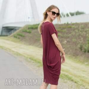 ręcznie zrobione sukienki creases burgund