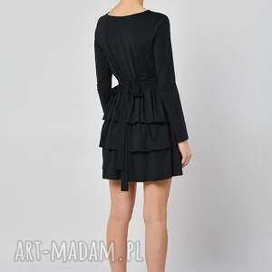 sukienki falbany cristina botanika - czarna sukienka