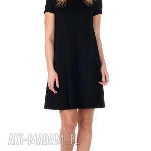 sukienki dzianina czarna brokatowa sukienka z krótkim