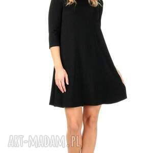 sukienka sukienki czarna brokatowa z rękawem
