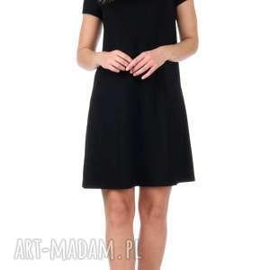 dzianina sukienki czarna brokatowa sukienka z krótkim