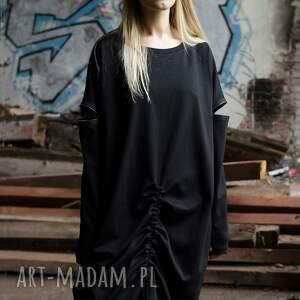 sukienki ściągana czarna prosta sukienk z zamkami