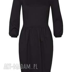 czarna sukienki sukienka z bufkami
