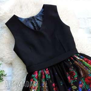 czarne sukienki sukienka czarna folk z góralskiej