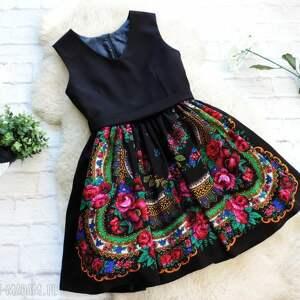 folkowa sukienki czarna sukienka folk z góralskiej