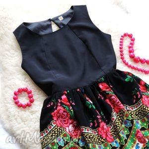 czarne sukienki sukienka czarna z góralskim wzorem