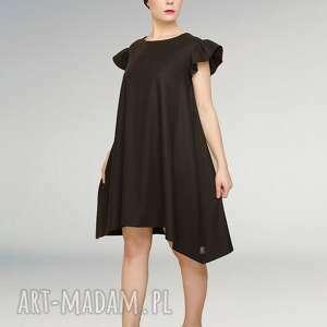 hand-made sukienki mała czarna sukienka z falbankami