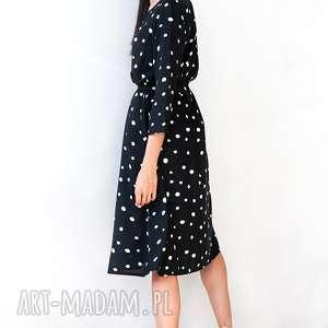 sukienki midi urocza sukienka w nieregularne grochy