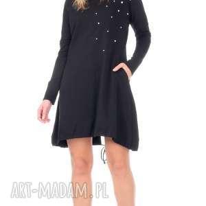 sukienki tunika czarna sukienka z perełkami