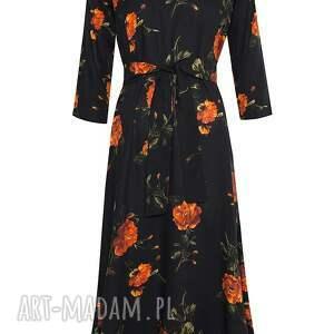 sukienki midi czarna sukienka w róże