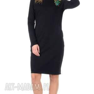 sukienki dzianina czarna sukienka z haftem