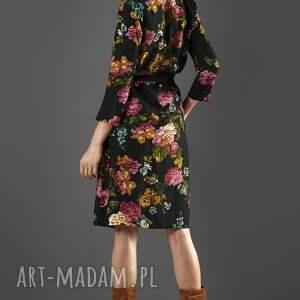 sukienki midi czarna szmizjerka w kwiaty paloma