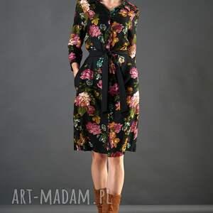 sukienki sukienka czarna szmizjerka w kwiaty paloma